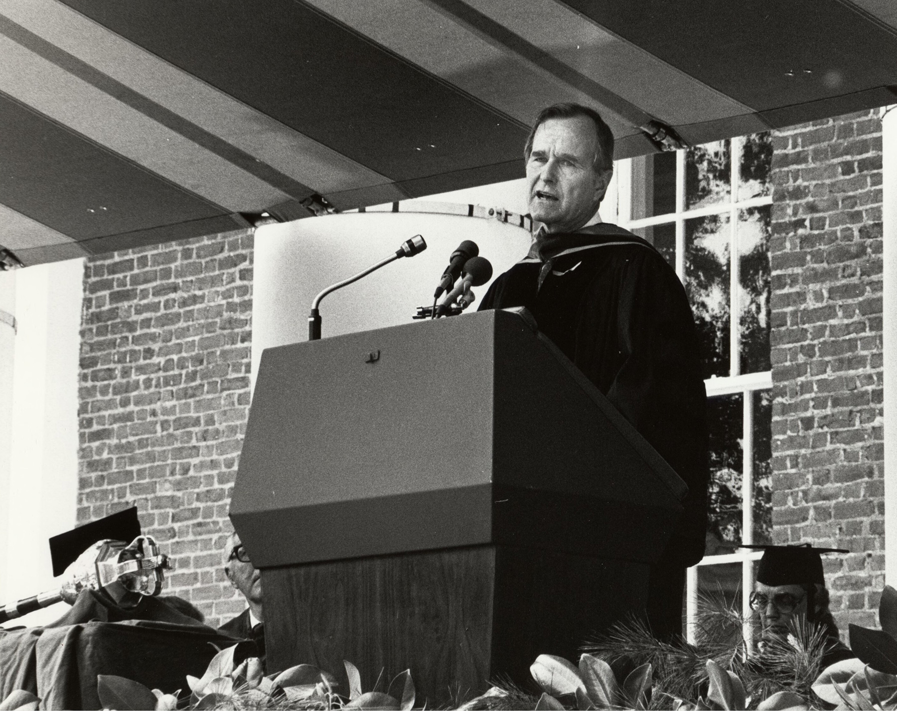 Bush spoke to graduates during Final Exercises in 1981. (Photo courtesy Albert and Shirley Small Special Collections Library)