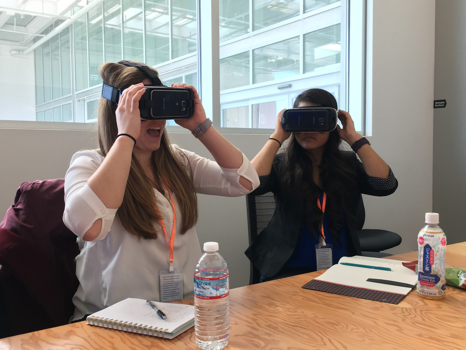 Students test out a new virtual reality app in development at Facebook. (Photo courtesy of Ryan Wright)