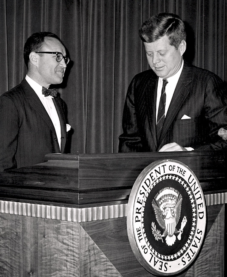 Mortimer Caplin with President John F. Kennedy, under whom he served as commissioner of the IRS.