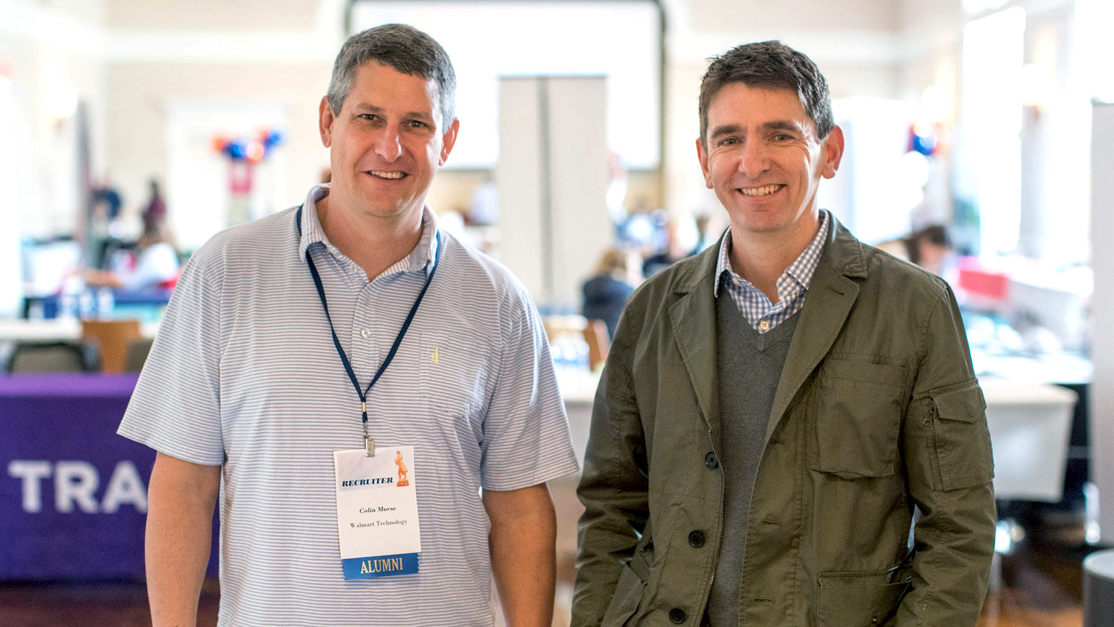 Morse, left, and O'Riordan are both UVA alumni and now work for Walmart Technology in Reston.
