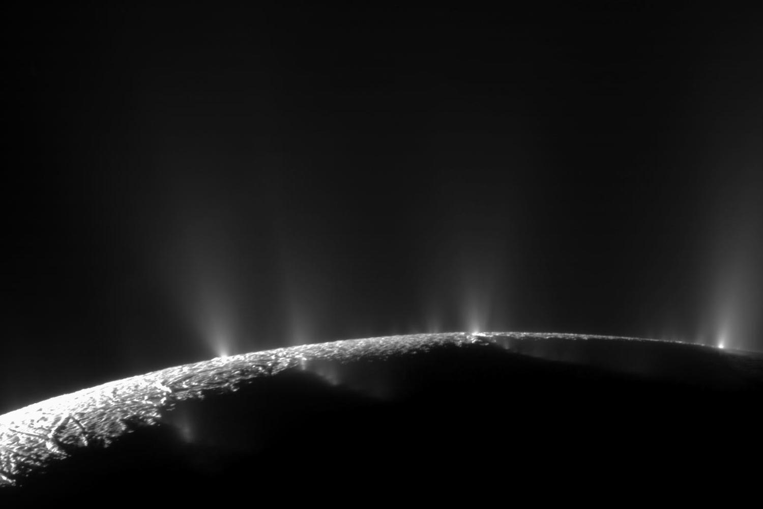 A plume sprays water ice and vapor from the south polar region of Saturn's moon, Enceladus.