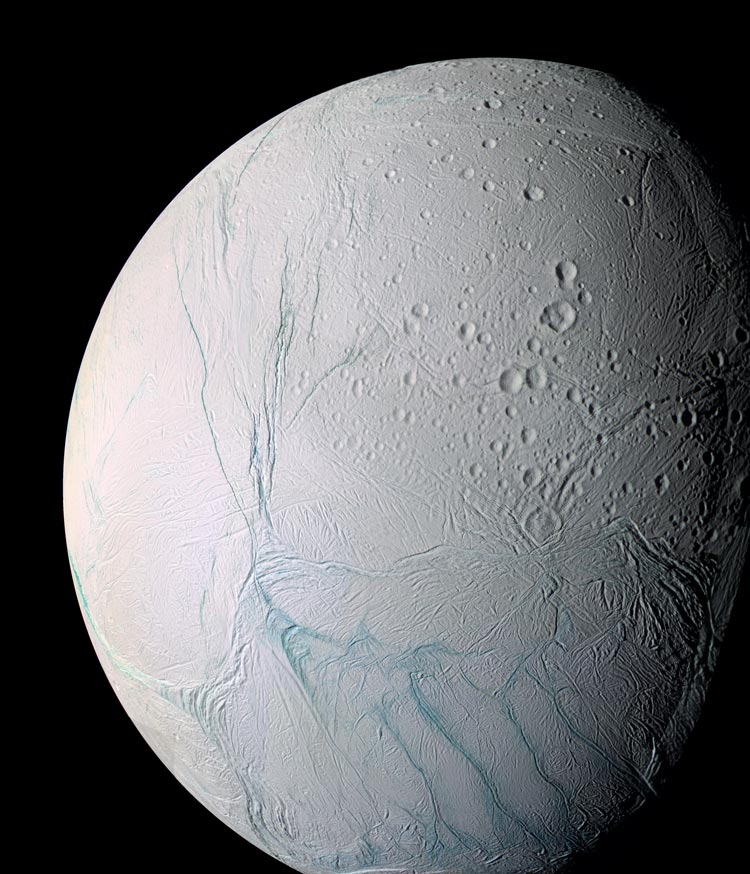 This Cassini image is Enceladus' south polar region.