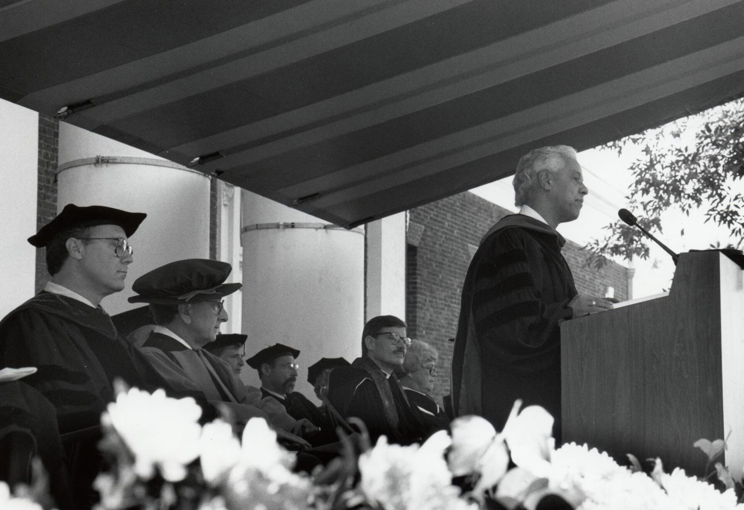 Then-Virginia Gov. L. Douglas Wilder speaks at the inauguration of John T. Casteen, who served as president of the University for 20 years.