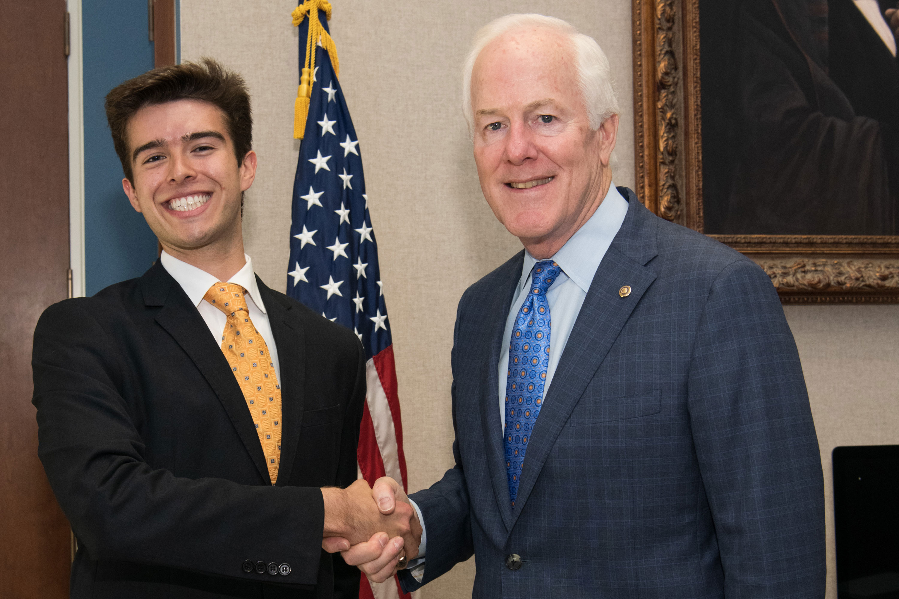 "Max Castroparedes, left, working in the office of Texas U.S. Sen. John Cornyn, is focusing his efforts on what are called ""legislative affairs."""