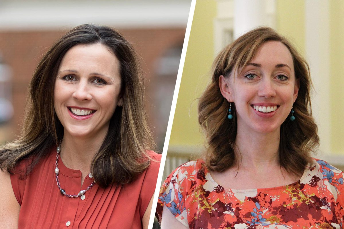 Catherine Bradshaw, left, and Amanda Nguyen are working to bring mental and behavioral health initiatives to rural schools. (Photos by Dan Addison, University Communications)