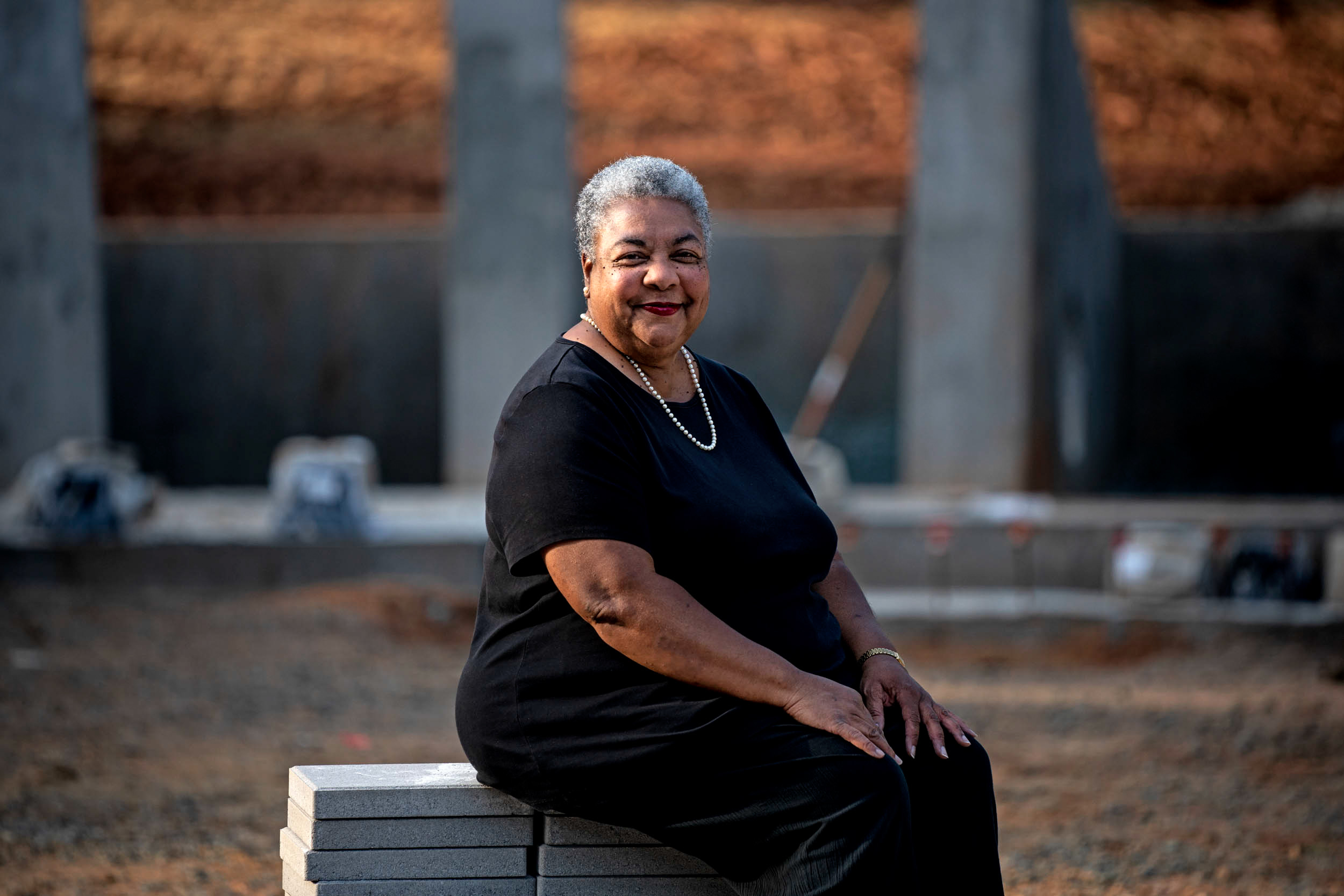 "Descendant Cauline Yates: ""The memorial is a circle, a continuous ring never ending, an opening for people to step inside and contemplate, to learn what slavery was about."""