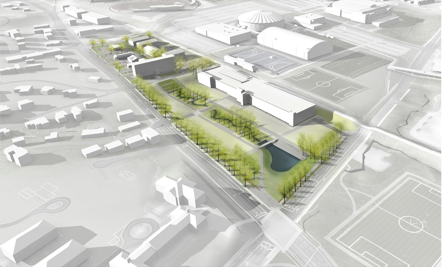 An aerial rendering shows the overall Ivy Corridor redevelopment plan for the area bordered by Emmet Street, the railroad tracks, and Ivy and Copeley roads.