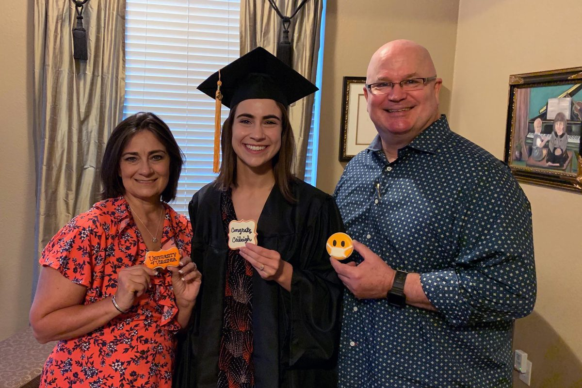 School of Nursing graduate Ceileigh Holsteen celebrated with her parents - and custom cookies - in Dallas, Texas. (Contributed photo)