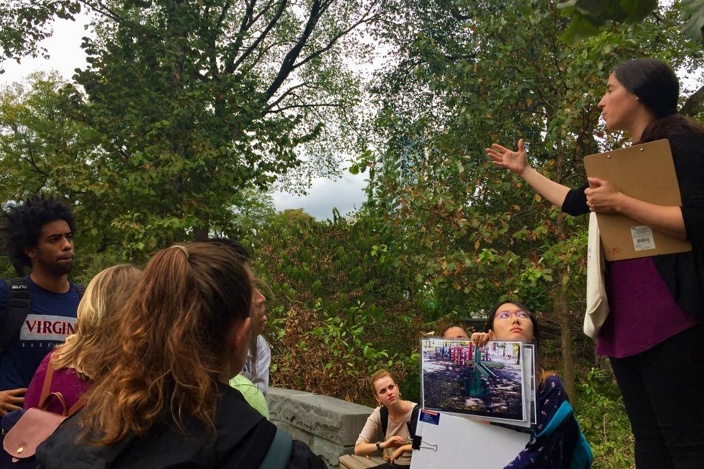 Students heard from leaders at the Central Park Conservancy, including Vice President for Planning, Design and Construction Lane Addonizio.