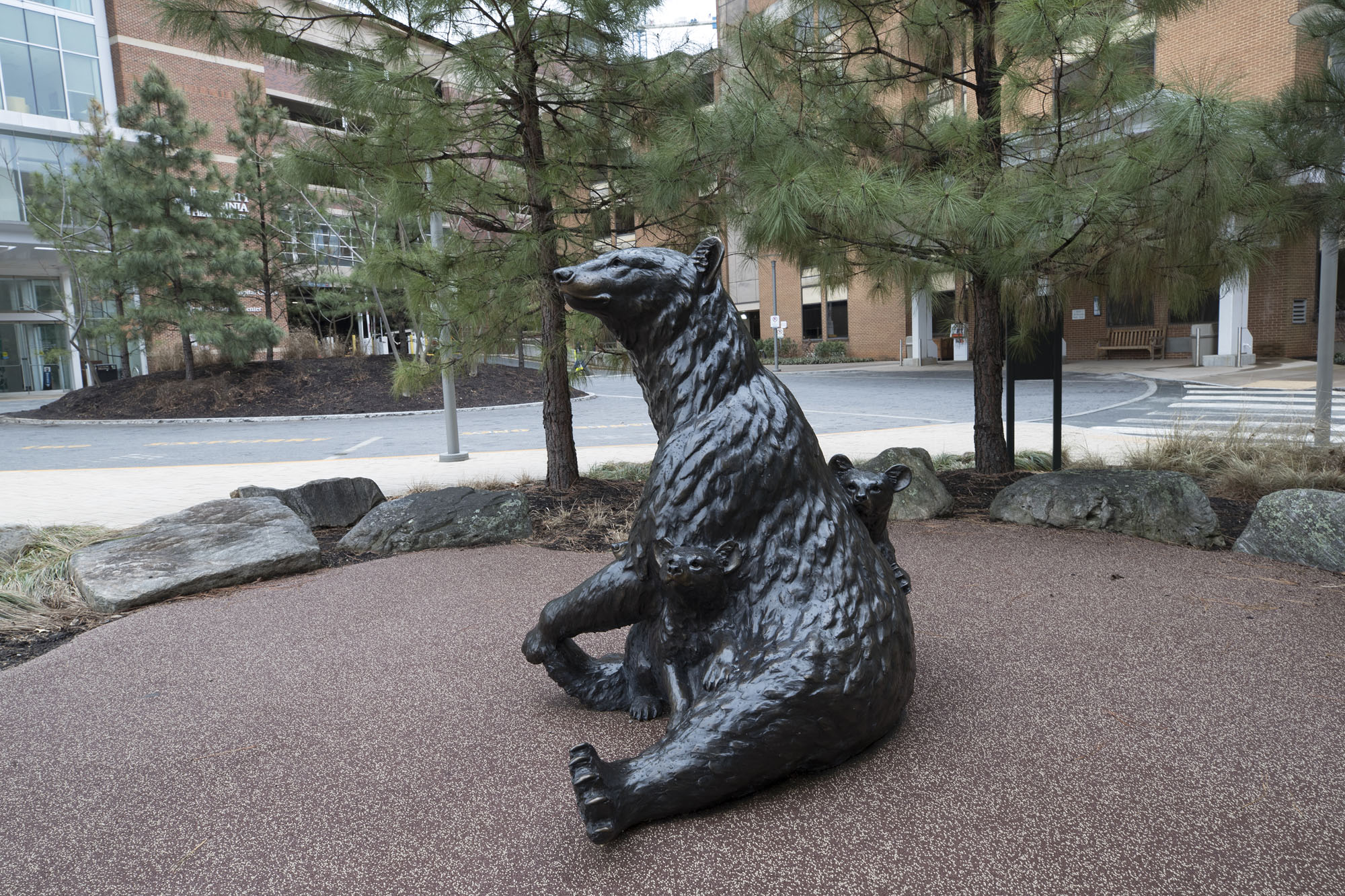 The mother bear with cubs was the first wildlife statue added to the plaza.