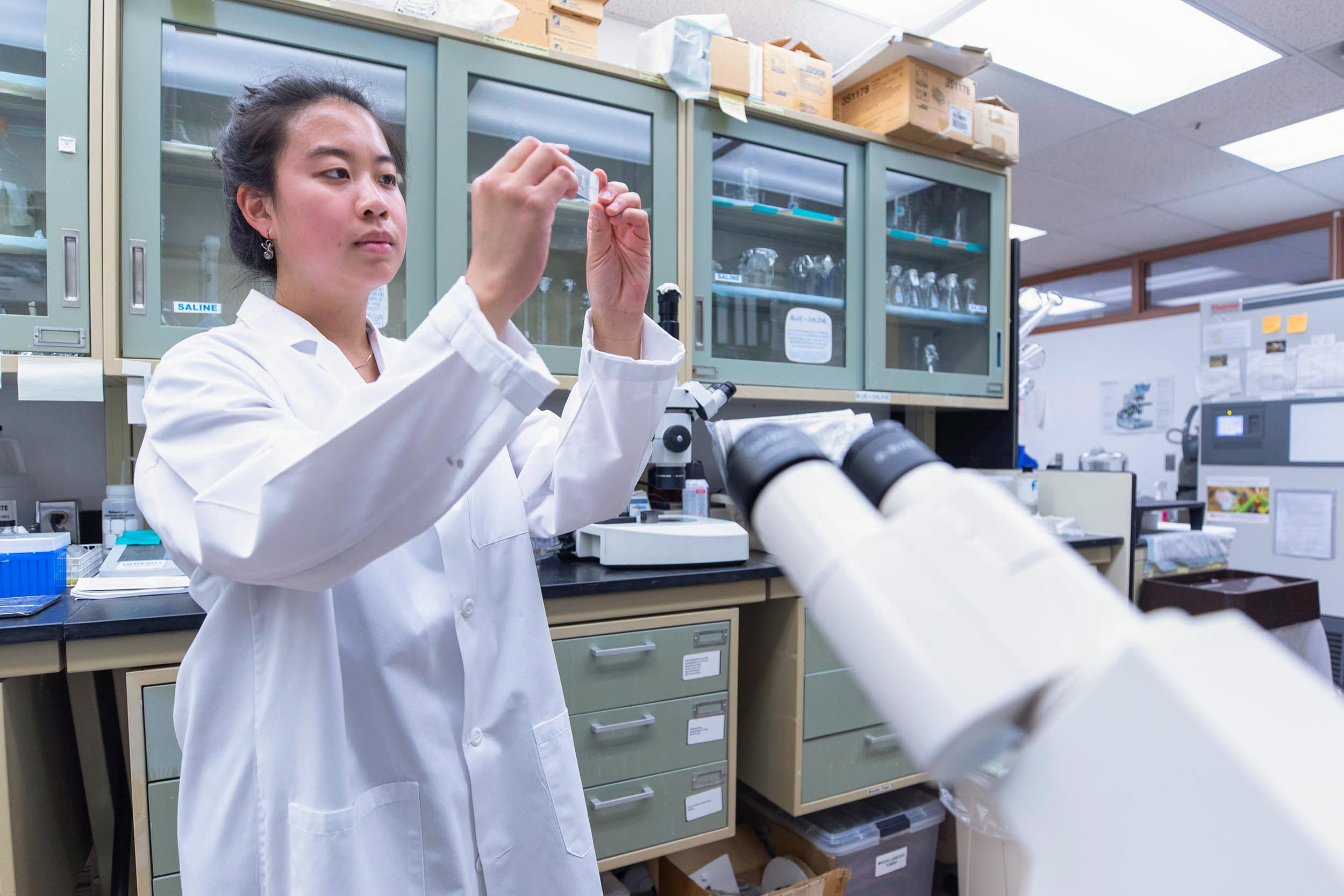 Christina Kim has conducted hearing research in the lab of neuroscientist Jeff Corwin.