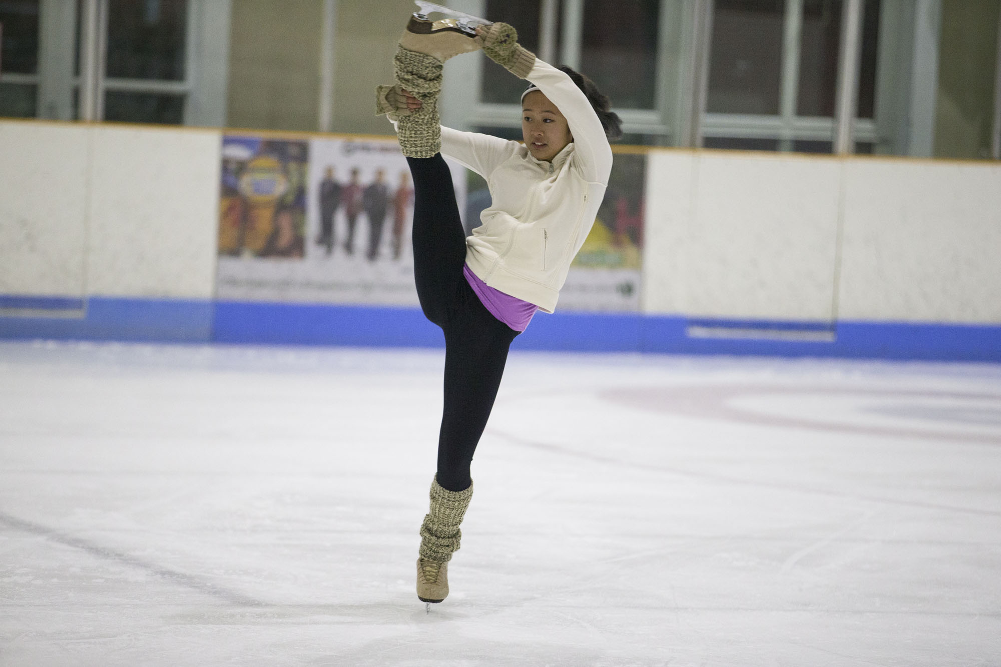 Slater works with skaters to better prepare their bodies for the many unusual bends and twists demanded by the sport. Here UVA club skater Marcha Kiatrungrit practices an upright grab spin.