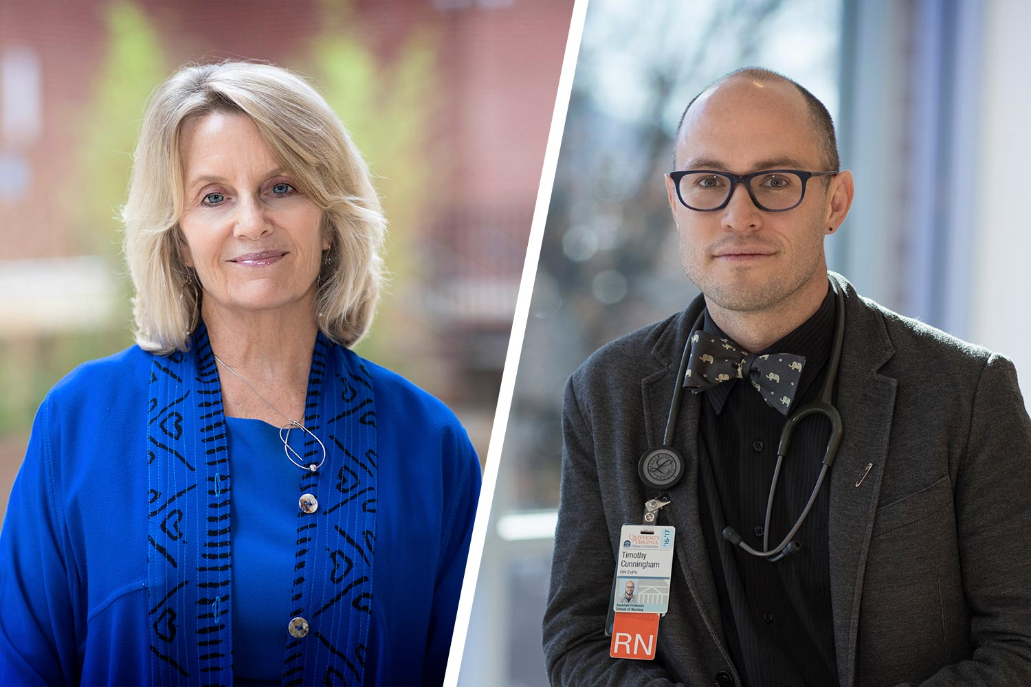 Clareen Wiencek, left, and Tim Cunningham were named to the American Academy of Nursing's 2019 class of academy fellows. (Photos by Dan Addison, University Communications)