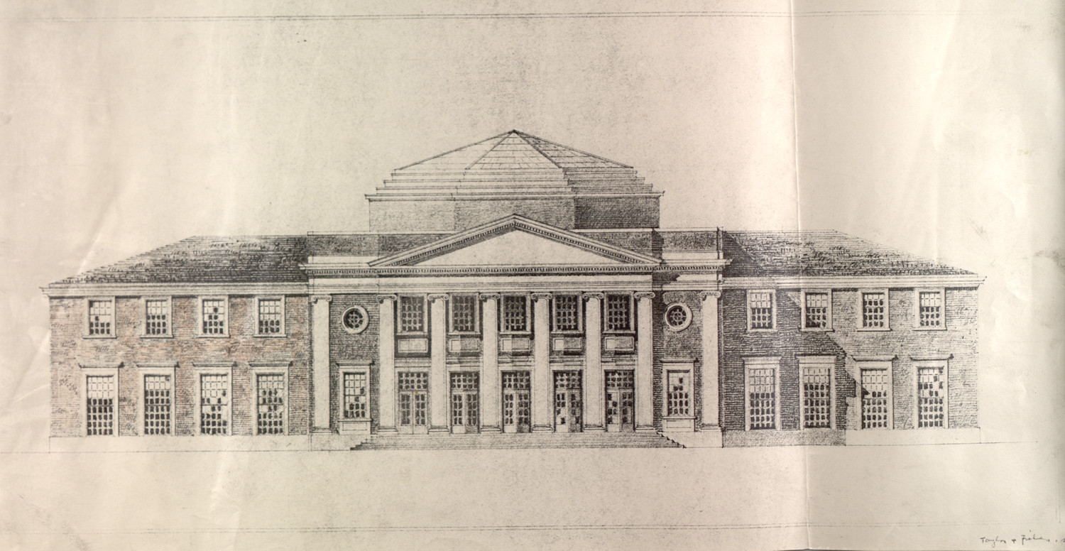 One of the rejected designs for Clark Hall called for a large dome.