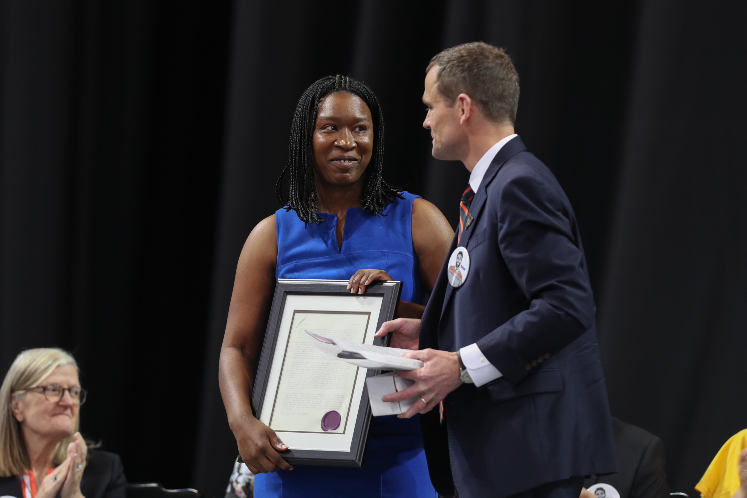 The Society of the Purple Shadows, represented by UVA President Jim Ryan, awarded its Gordon F. Rainey Jr. Award to Claudrena Harold, professor of African American and African Studies and History.