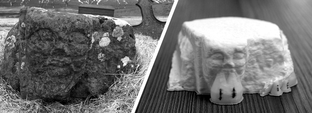 Over time the distinct carvings on the twelfth century Hítardalur stone have begun to fade. The 3-D recreation helps preserve the current appearance before it is lost to the elements.
