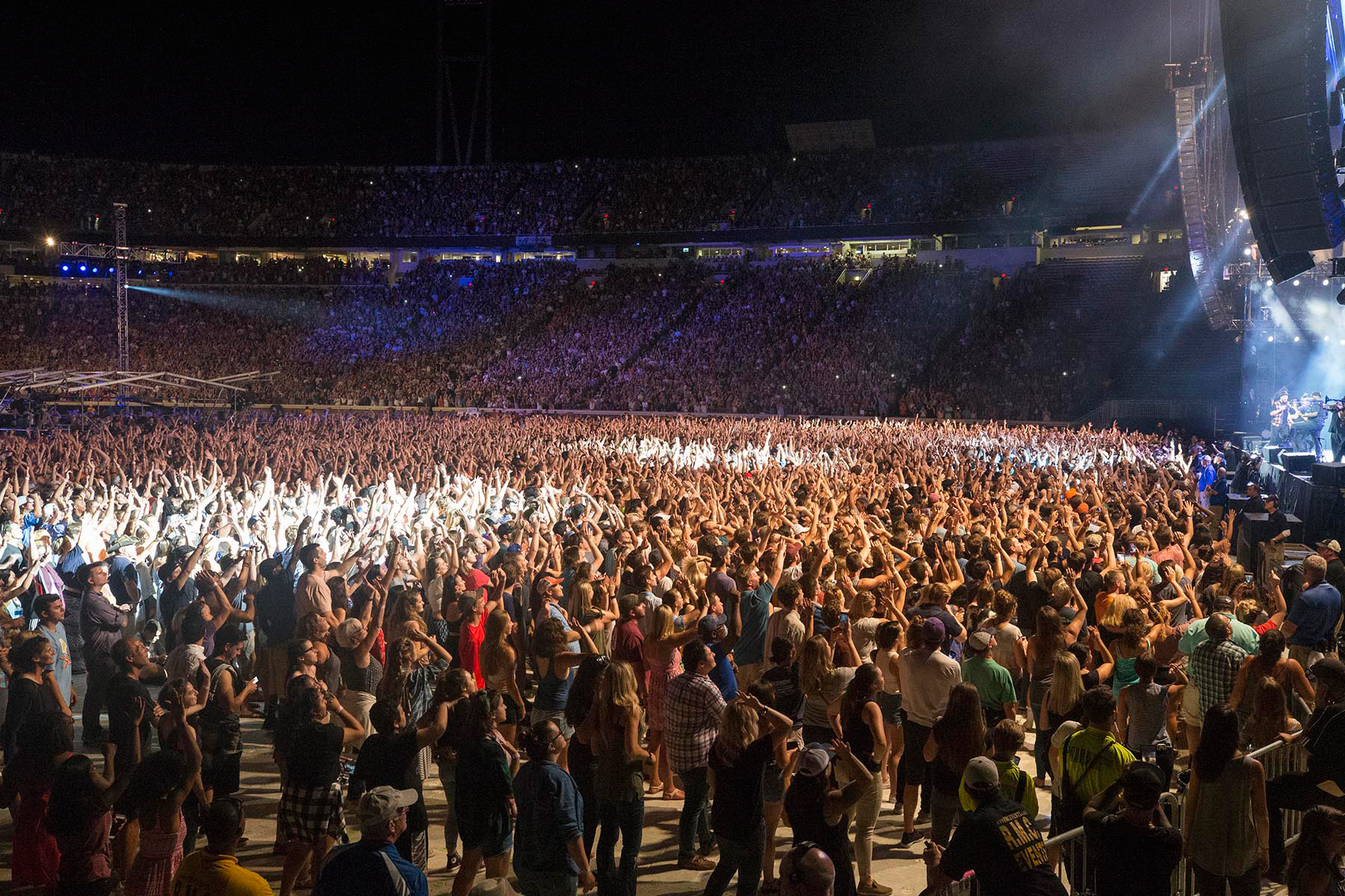 Tens of thousands of fans enjoyed a megawatt lineup of performers at the Scott Stadium concert Sunday night.