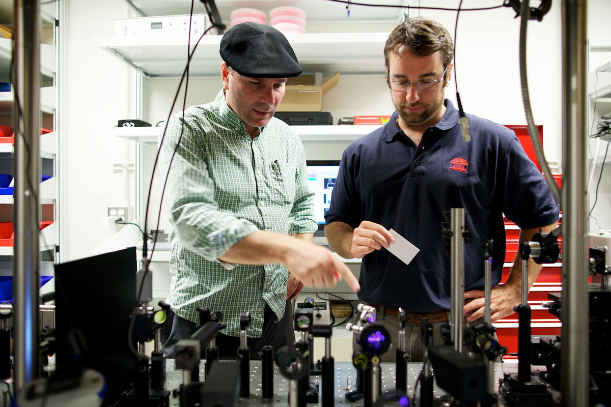 James Madison University assistant professor Costel Constantin, left, and UVA associate professor Patrick Hopkins study heat transfer at the nanoscale, hoping to improve the functionality of nanodevices. Their project was funded by a 2013 grant from the s