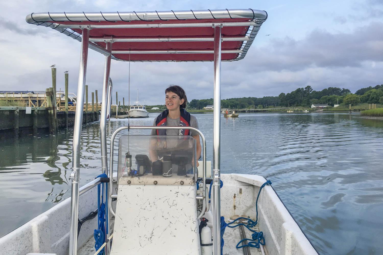 Cora Johnston runs UVA's Anheuser-Busch Coastal Research Center in Oyster, Virginia.