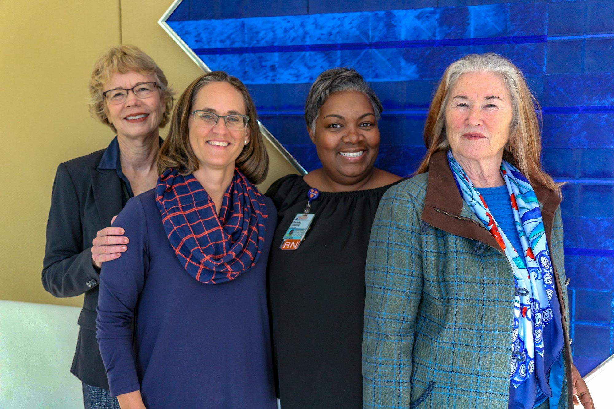 The School of Nursing team that oversees the new Conway grant initiatives includes, from left, Susan Kools, associate dean for diversity and inclusion; Bethany Coyne, assistant professor and BSN program director; Tomeka Dowling, assistant professor and RN