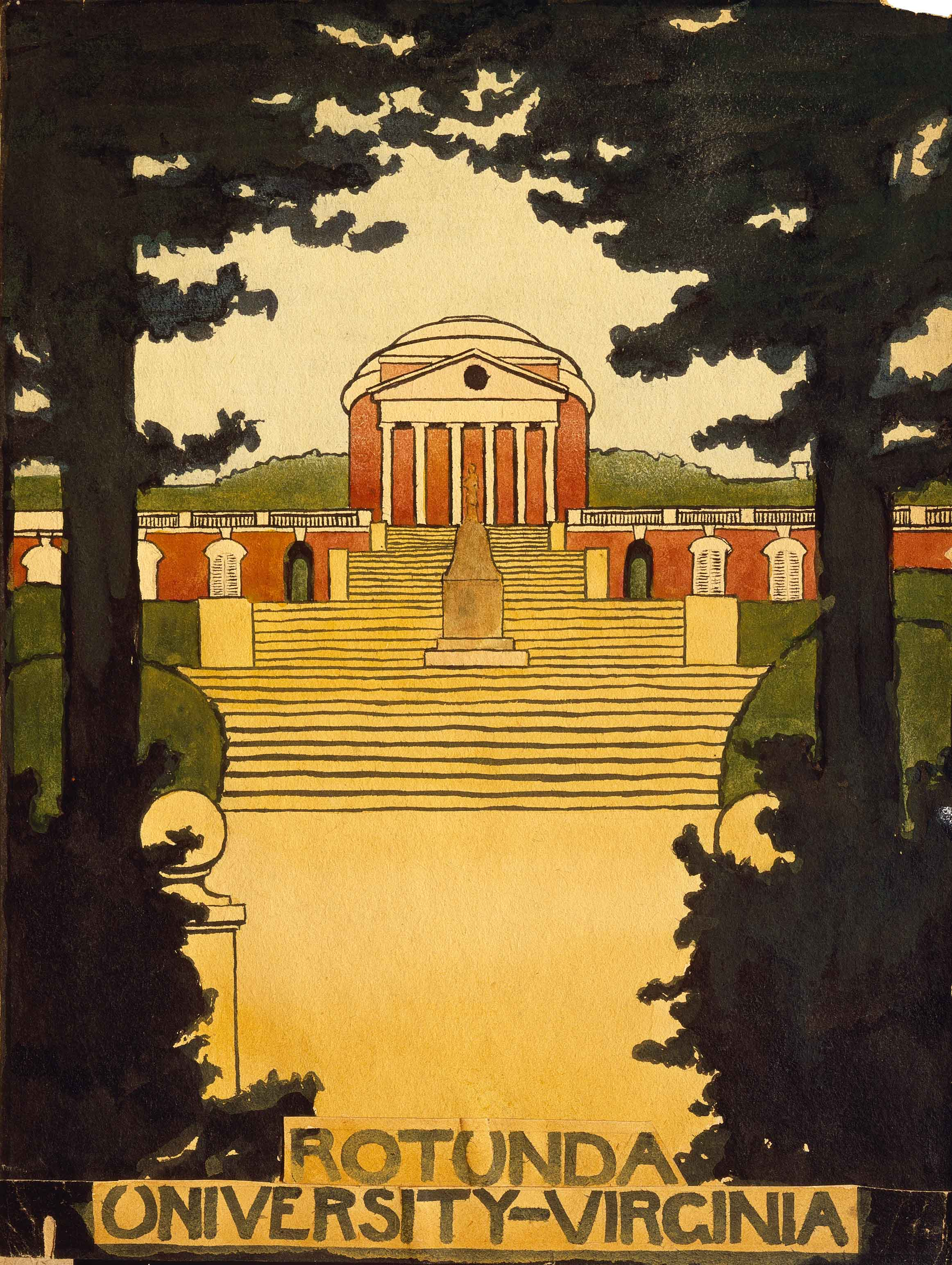 Untitled (Rotunda -University of Virginia) Scrapbook U of V, 1912-1914, Georgia O'Keeffe, Watercolor on paper