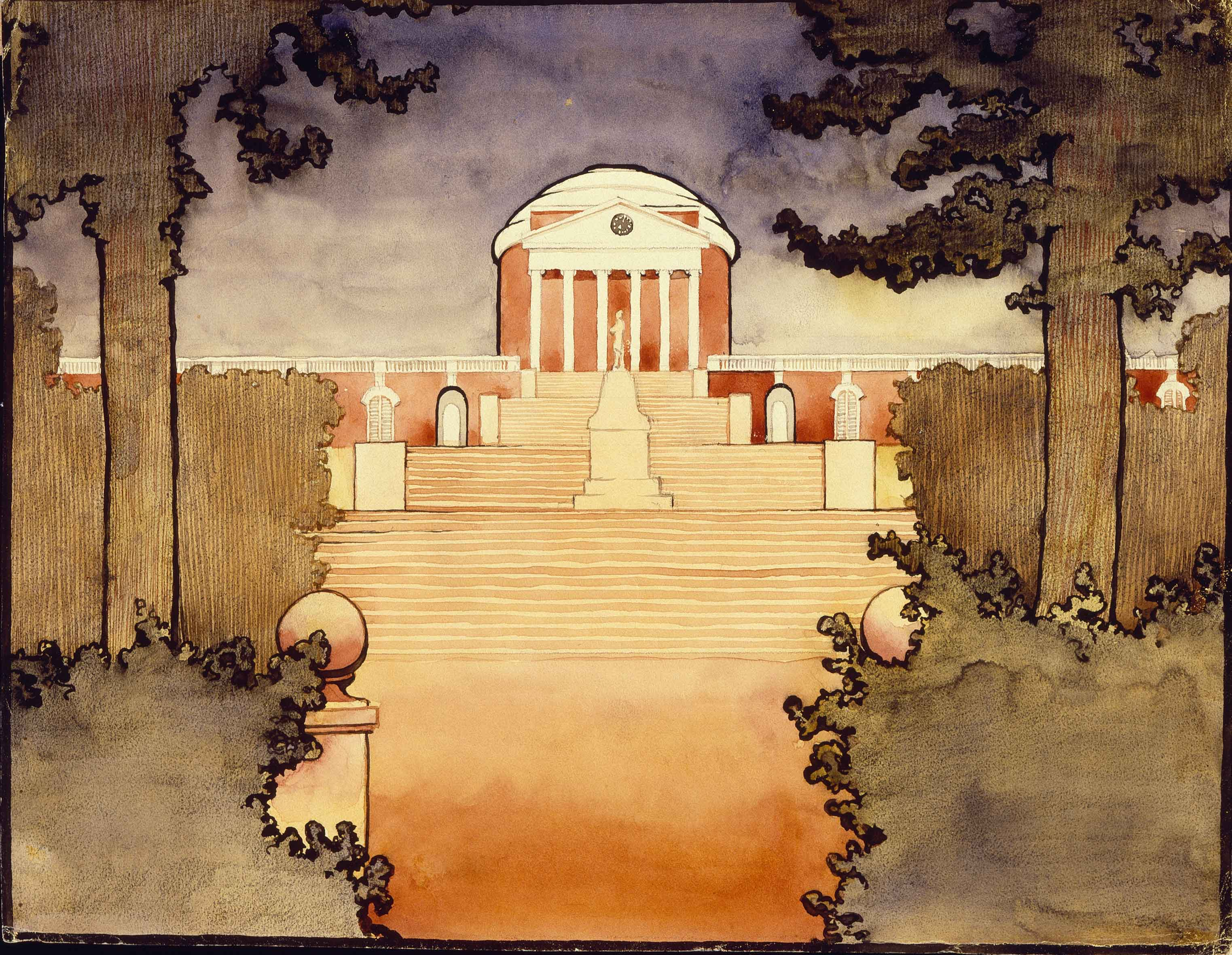 Untitled (Rotunda -University of Virginia) Scrapbook U of V, 1912-1914 Georgia O'Keeffe Watercolor on paper 11 7/8 x 9 (30.16 x 22.86) Georgia O'Keeffe Museum Gift of The Georgia O'Keeffe Foundation (2006.05.608) Copyright Georgia O'Keeffe Museum