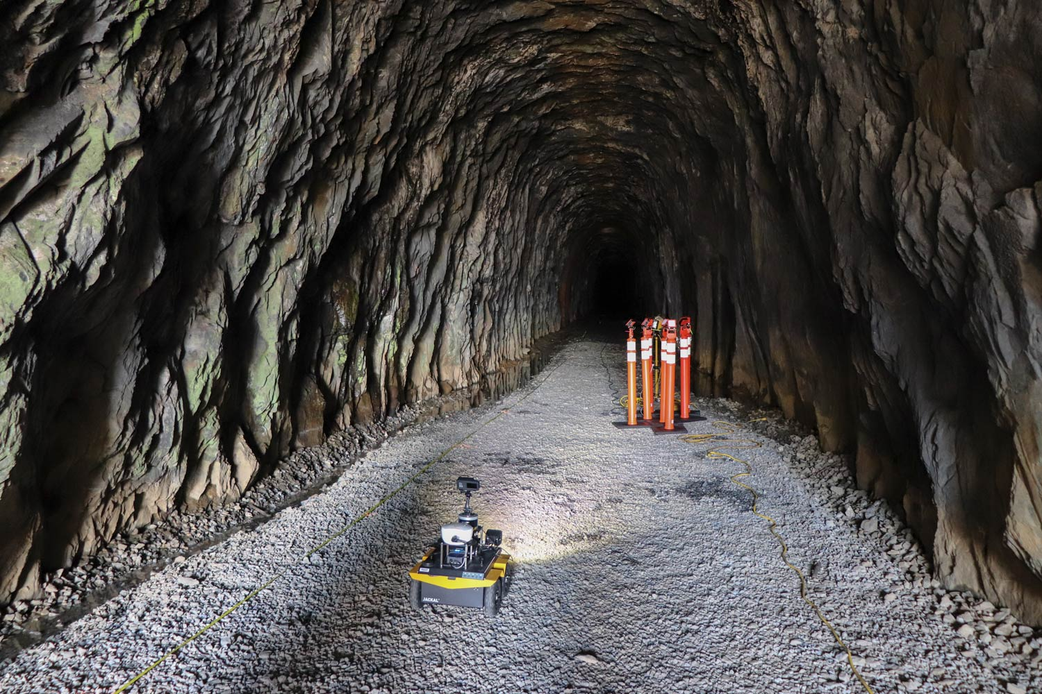 The robot enters the Crozet Tunnel to start its mapping process.