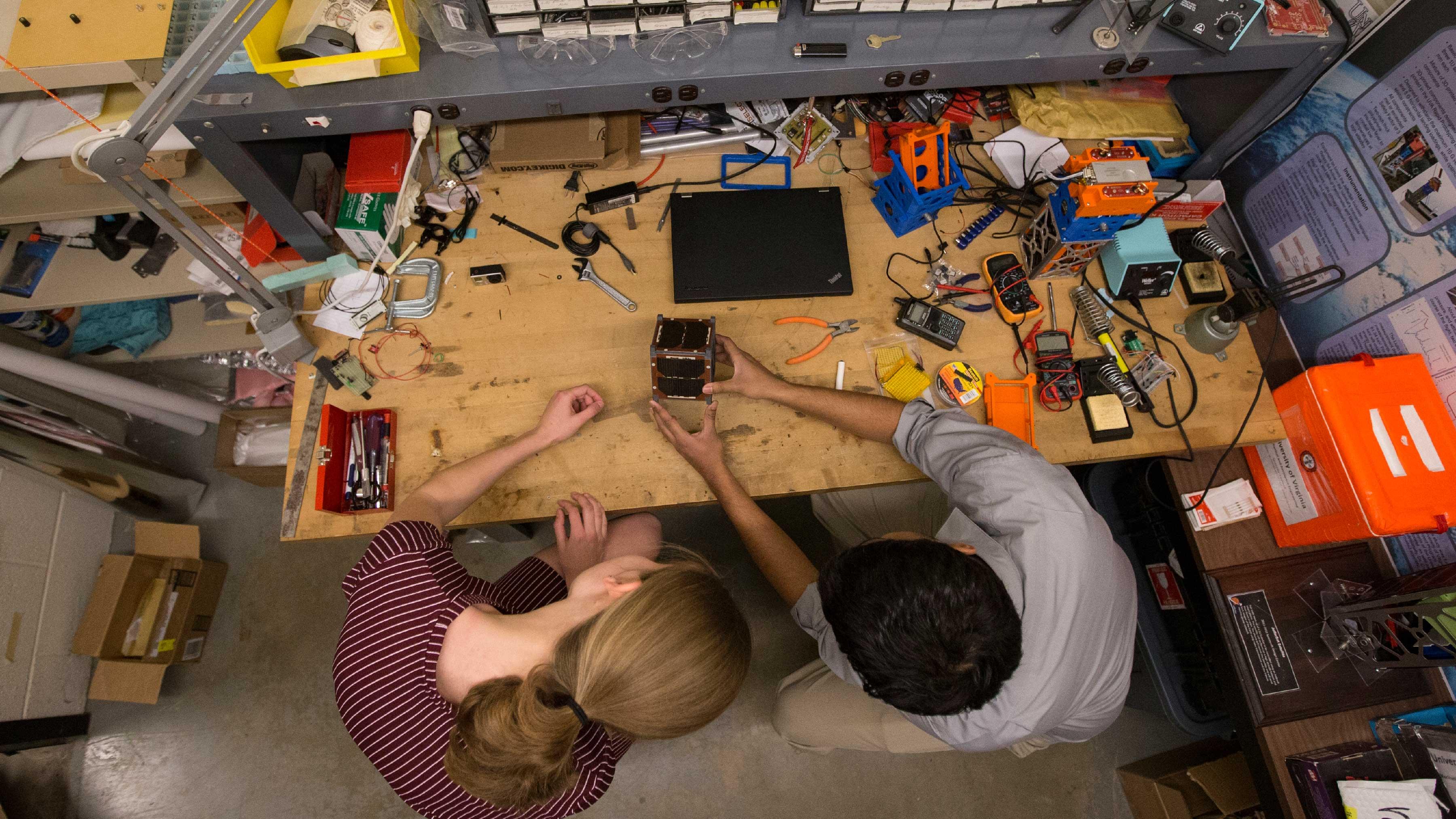 Leiter and Venigalla construct a CubeSat mockup.