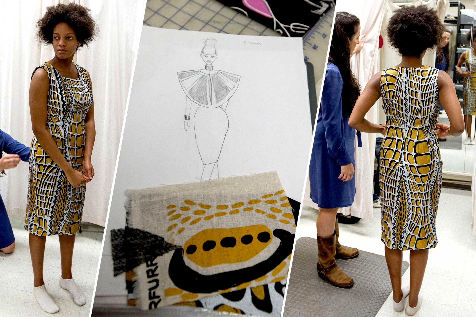 Fourth-year student Ismaelia Dejoie designed and sewed the dress pictured here to emphasize the striking pattern of the crocodile print by artist Aaron McTaggart. (Photo by Dan Addison, University Communications)