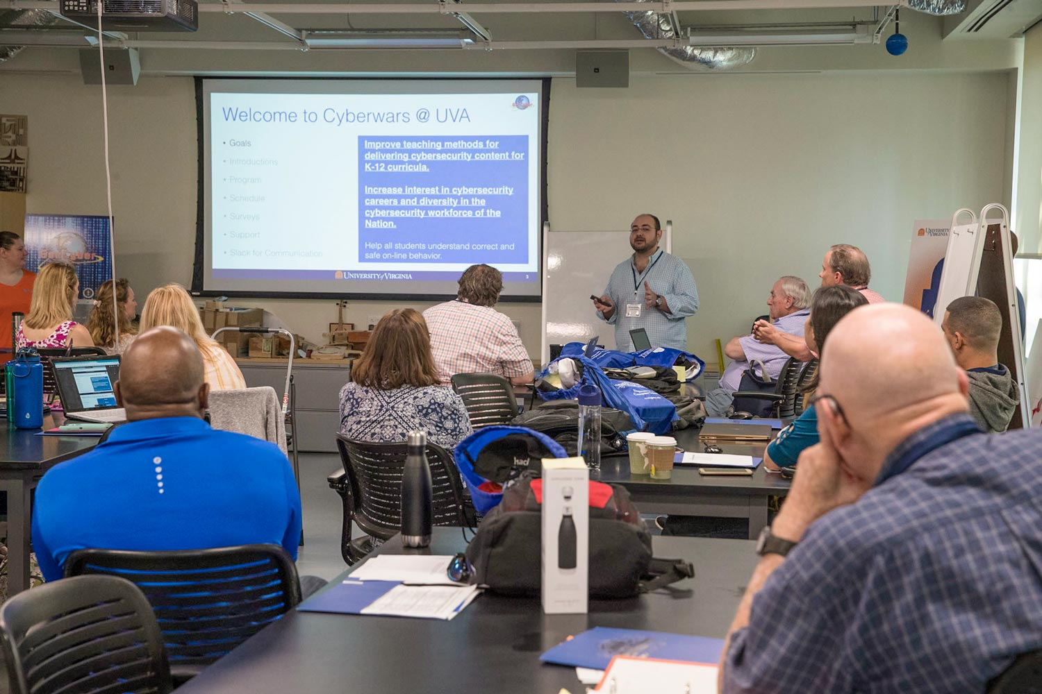 The camp drew 25 teachers, including 21 from Virginia, who learned from UVA faculty how to teach cybersecurity to their students.