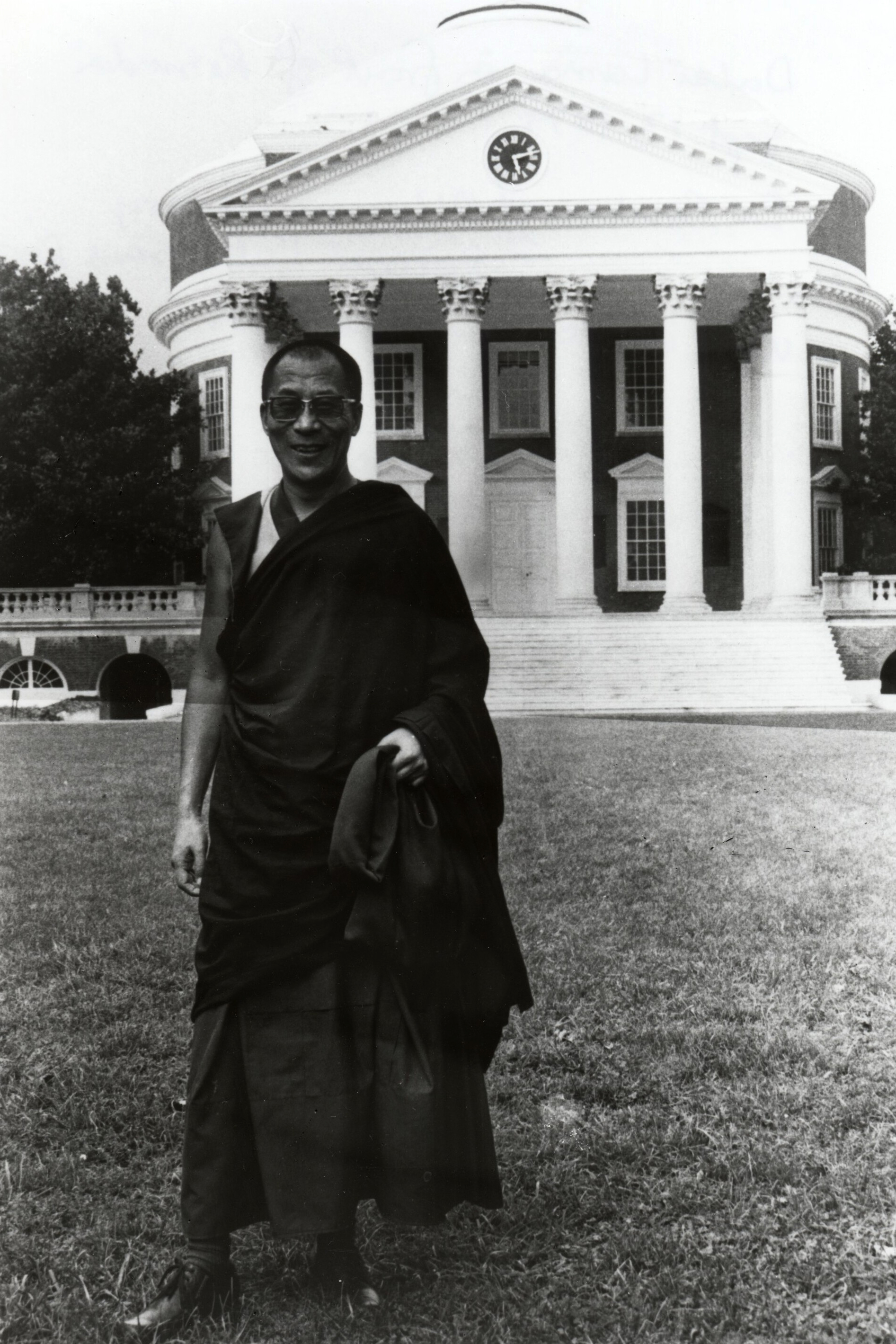 The Dalai Lama during a visit to Grounds in 1979. (Image courtesy Albert and Shirley Small Special Collections Library)