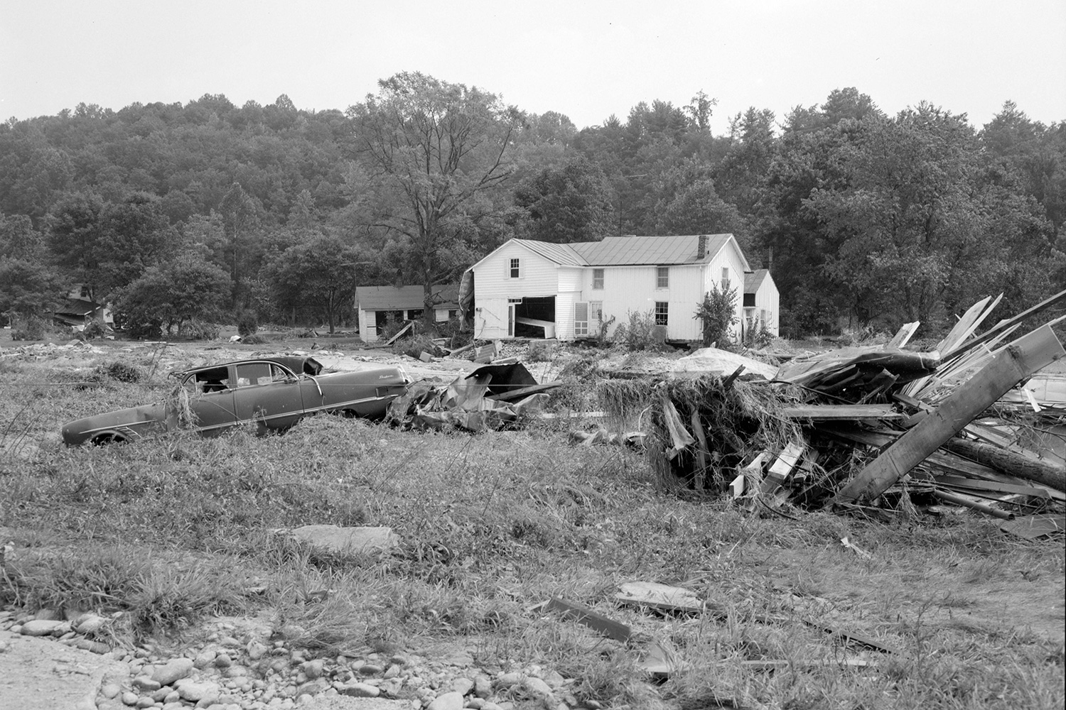 Hurricane Camille caused catastrophic damages to property, automobiles and homes. This photo was taken on Rt. 56 in Massie's Mill, Nelson County.