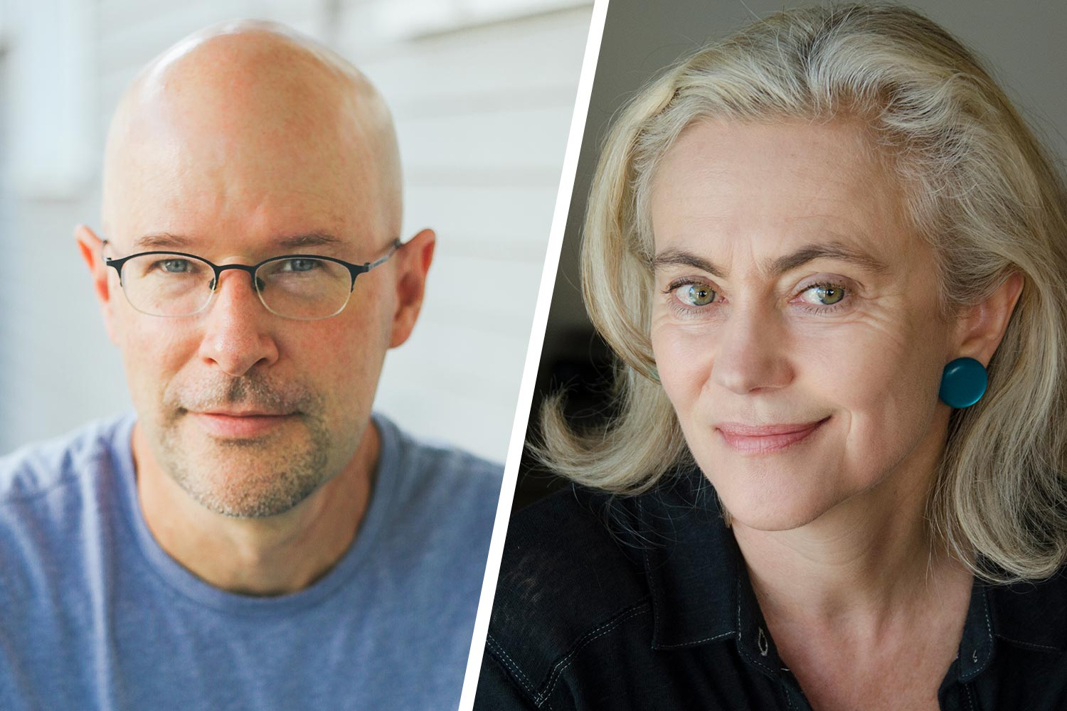 """""""Modern Love"""" editor Daniel Jones, left, will take part in a virtual fireside chat with UVA English professor and author Jane Alison, right, on Thursday night. (Contributed photos)"""