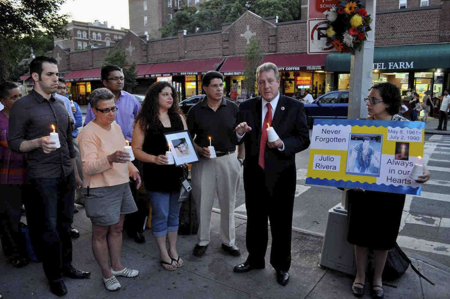 Julio Rivera's friends and family gathered with City Council Member Daniel Dromm on the 20th anniversary of his murder in July 2010.