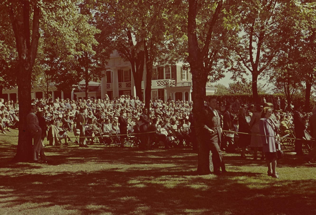 People gathered on the Lawn near Pavilion X on a cool autumn day to witness the installation of Colgate W. Darden, UVA's third president.