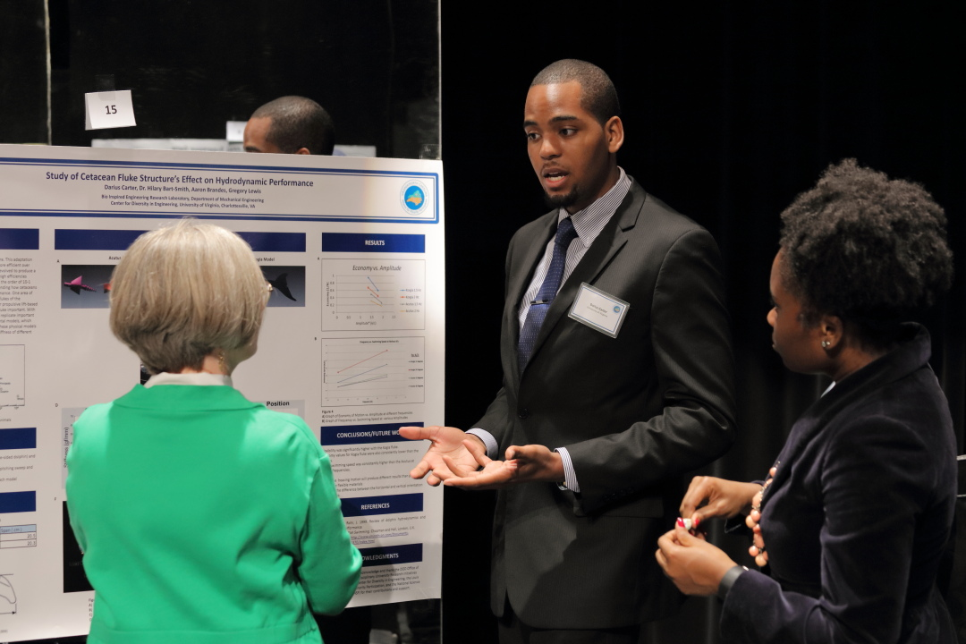 Darius Carter, who's now a UVA graduate student in mechanical and aerospace engineering, presented at symposia through the VA-NC Alliance last year.
