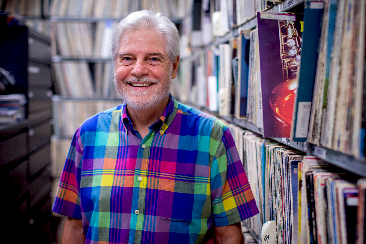 43 years into his career as a DJ at WTJU, Dave Rogers still loves going into work on Friday nights. (Photo by Sanjay Suchak)