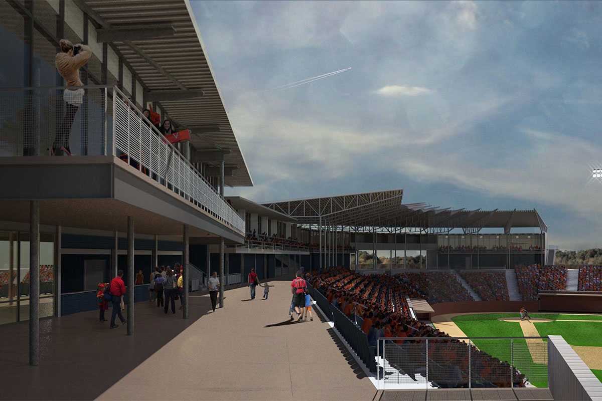 In this view, the main concourse is extended down the right-field line.