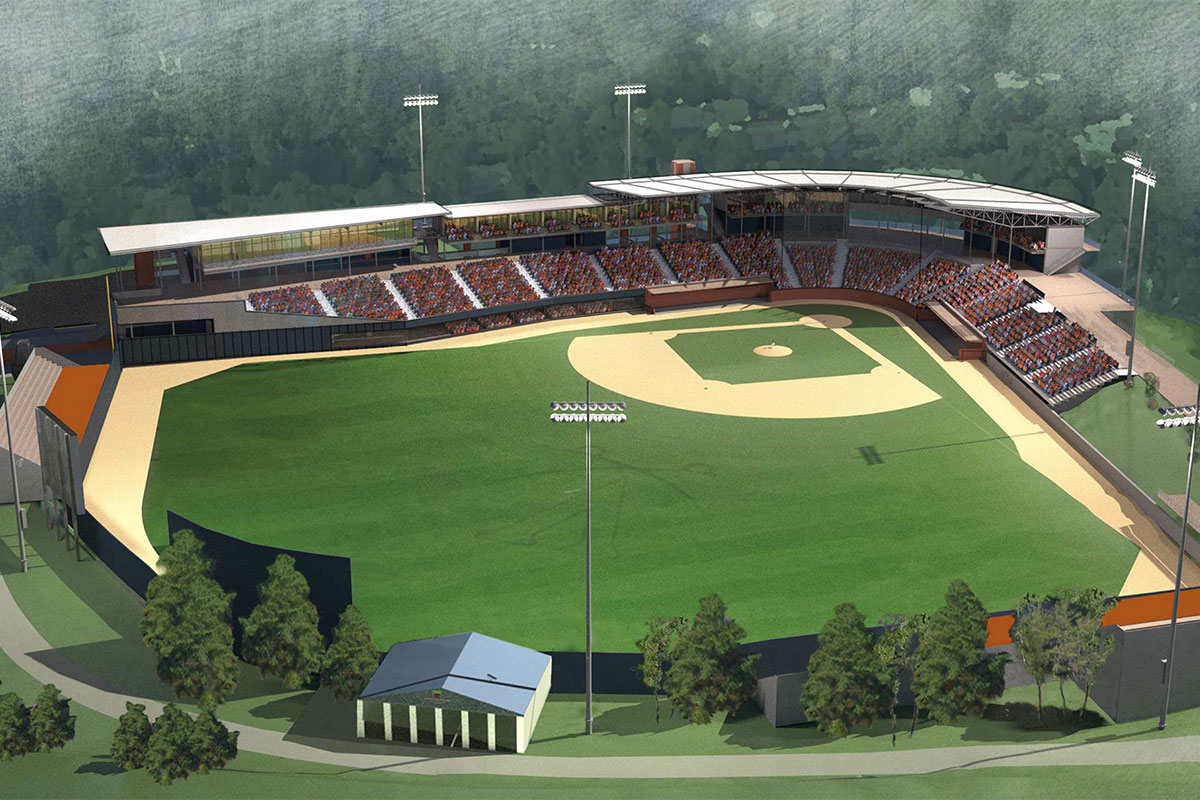 A bird's-eye view of a possible stadium expansion design.