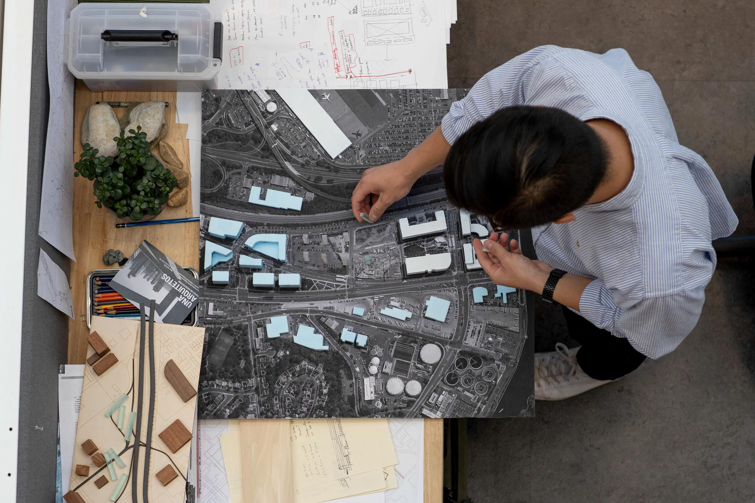 Shim works on his thesis project, a model of affordable housing units designed to accommodate Amazon workers flowing into Crystal City for the company's second headquarters.
