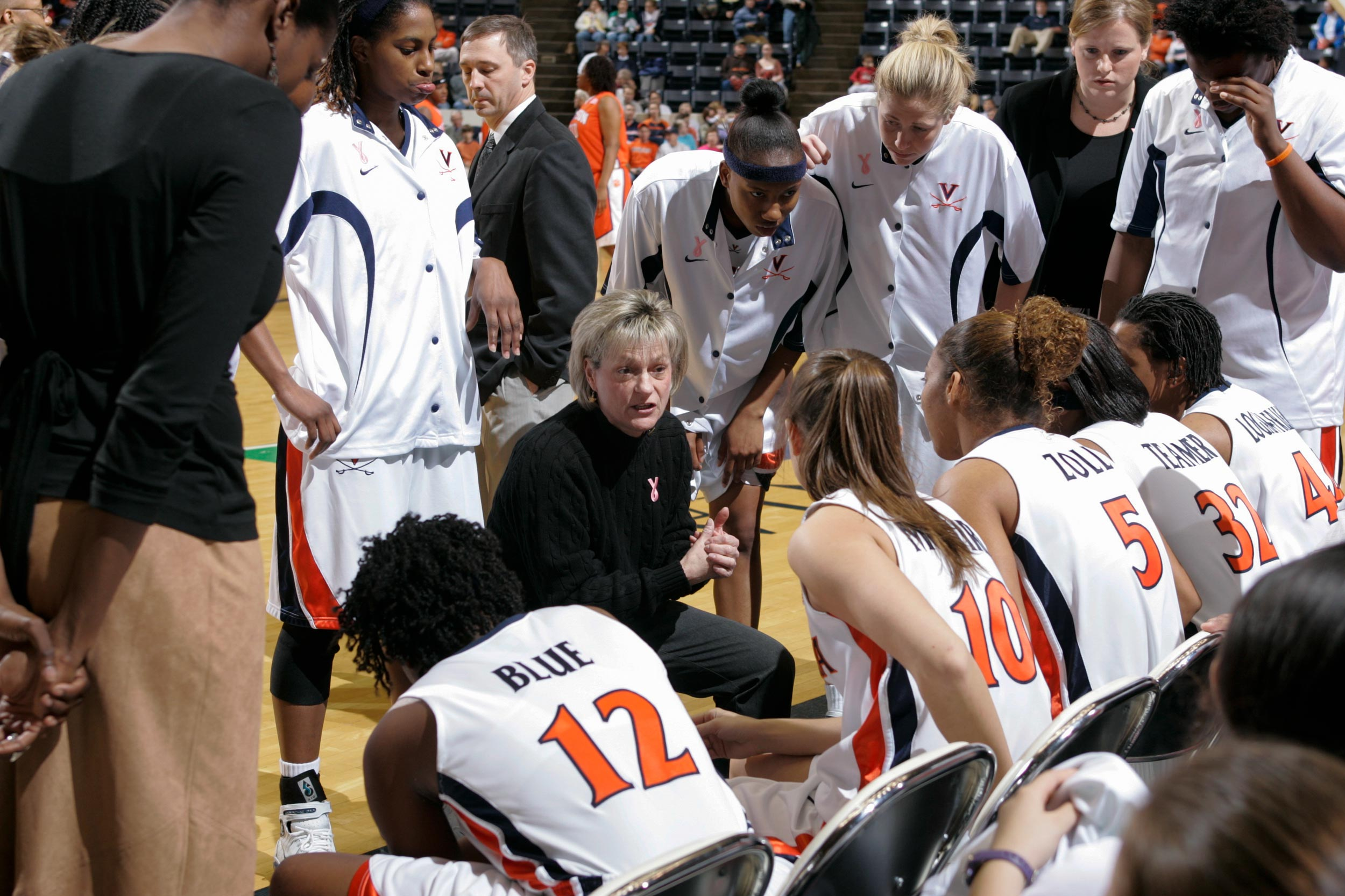 Ryan during timeout. CAPTION: Ryan says wins and losses are secondary to how her former players have achieved after graduation.