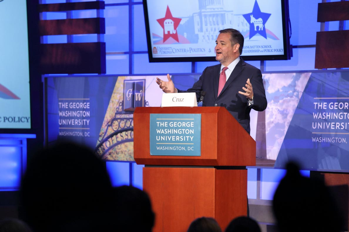 Republican U.S. Sen. Ted Cruz also headlined the event, speaking and taking questions from the audience.