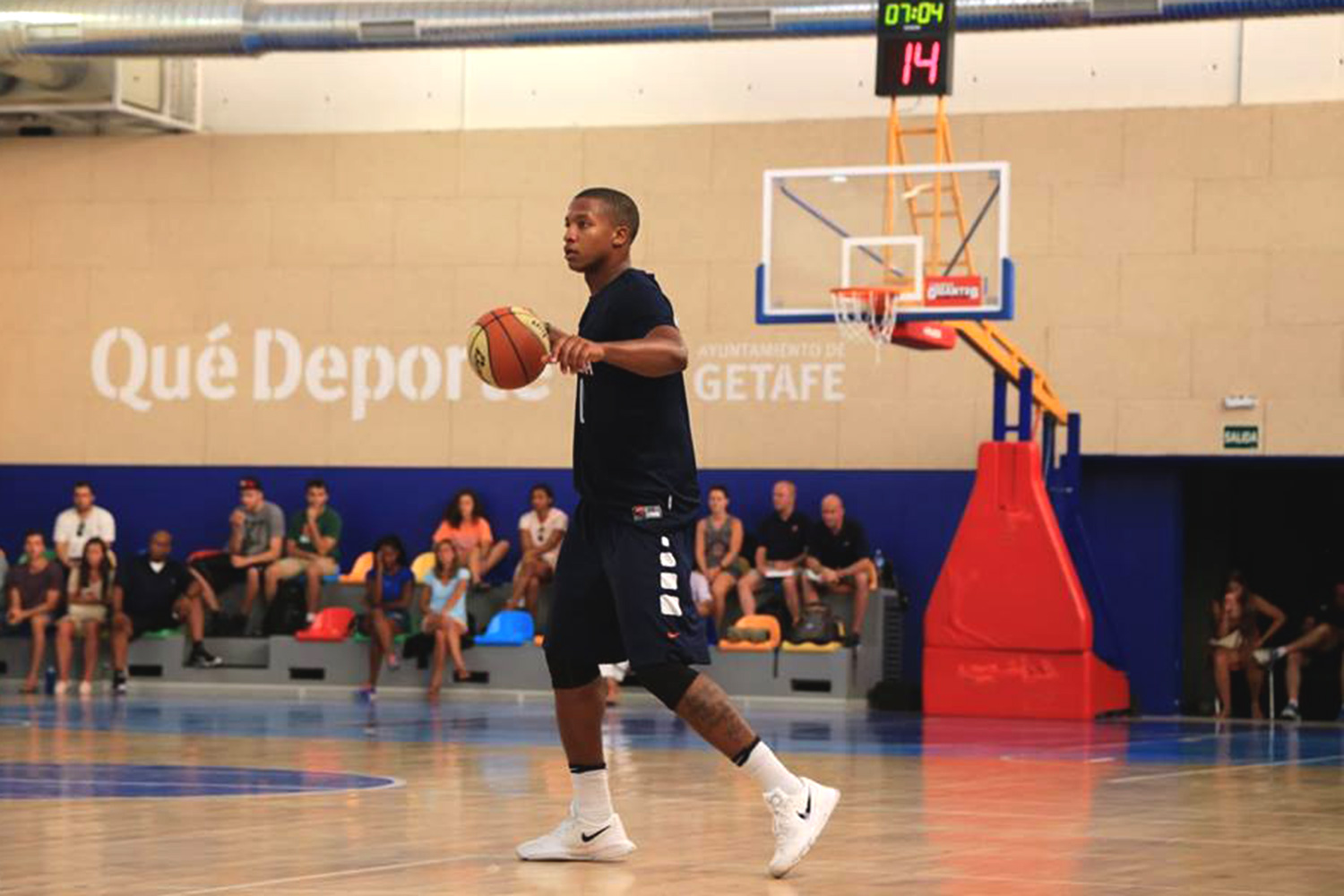Hall handles the ball during the team's preseason trip to Spain. Coaches are counting on him to be one of the team's leaders.