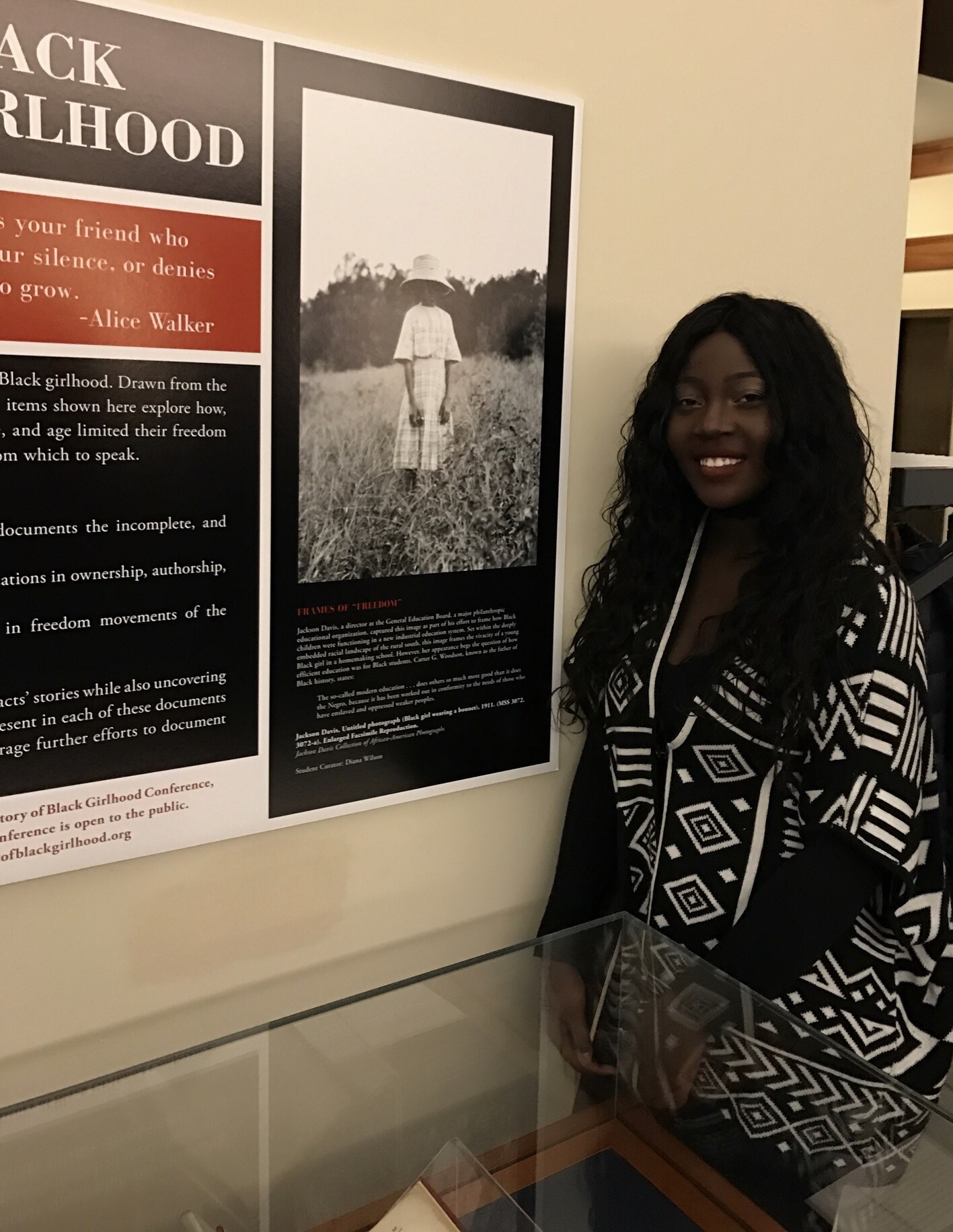 Third-year student Diana Wilson worked on the exhibit and planned an undergraduate panel for the Global Black Girlhood conference.