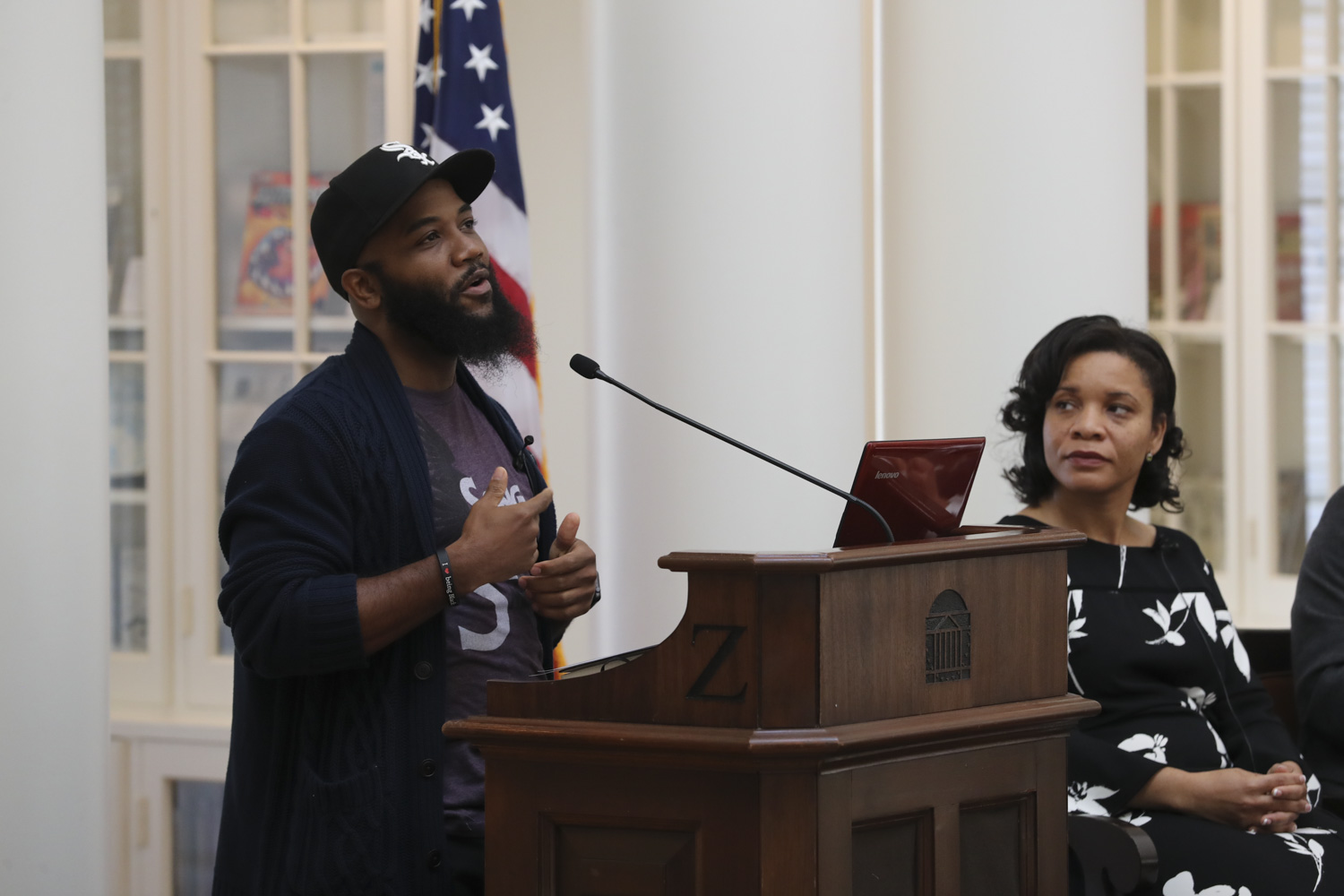 A.D. Carson, assistant professor of hip-hop, discusses hip-hop music in culture as moderator Talitha LeFlouria, Lisa Smith Discovery Associate Professor in African and African-American Studies, listens.