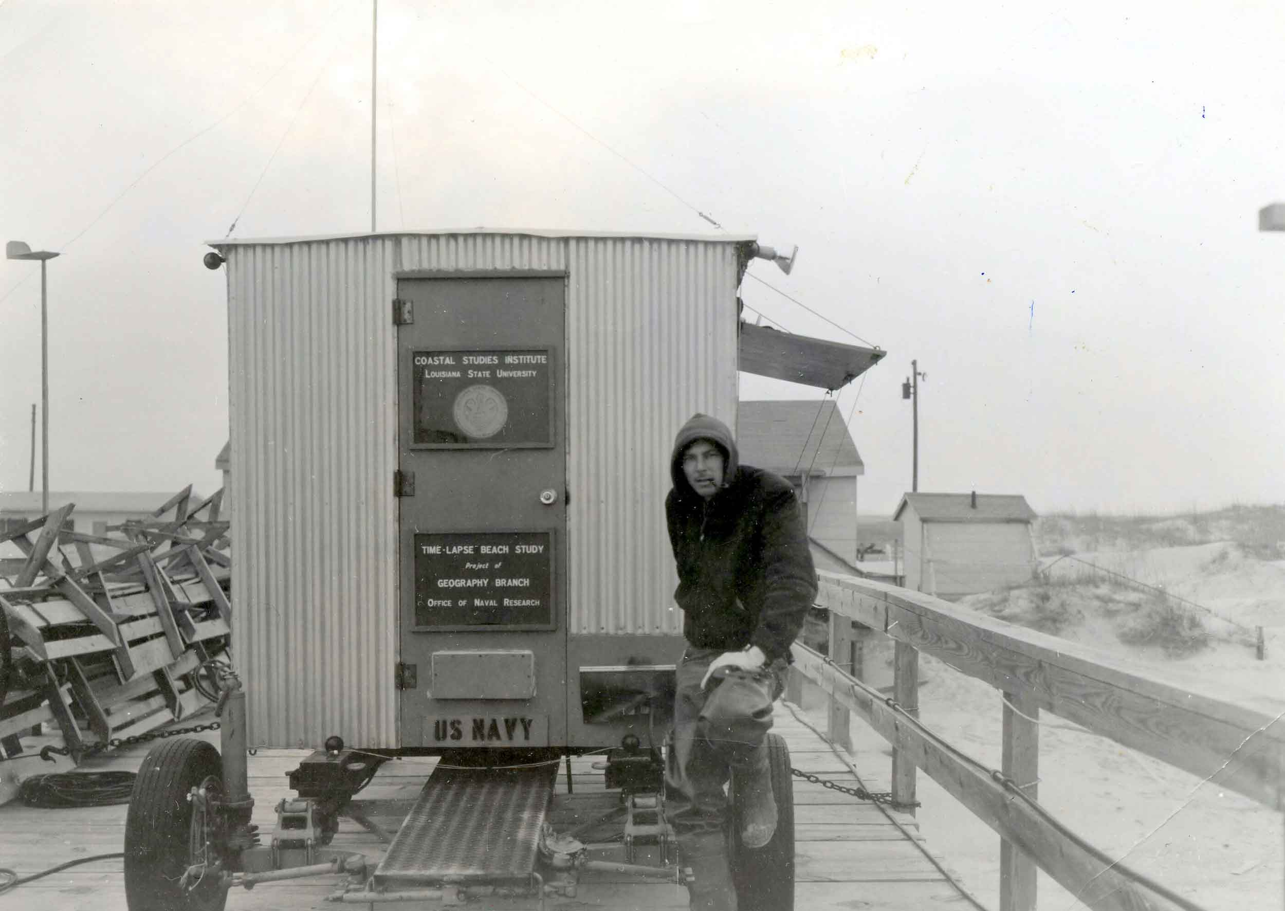 Not long after Robert Dolan set up a trailer with research equipment on Seaport Pier, a huge nor'easter pounded the barrier islands of North Carolina.
