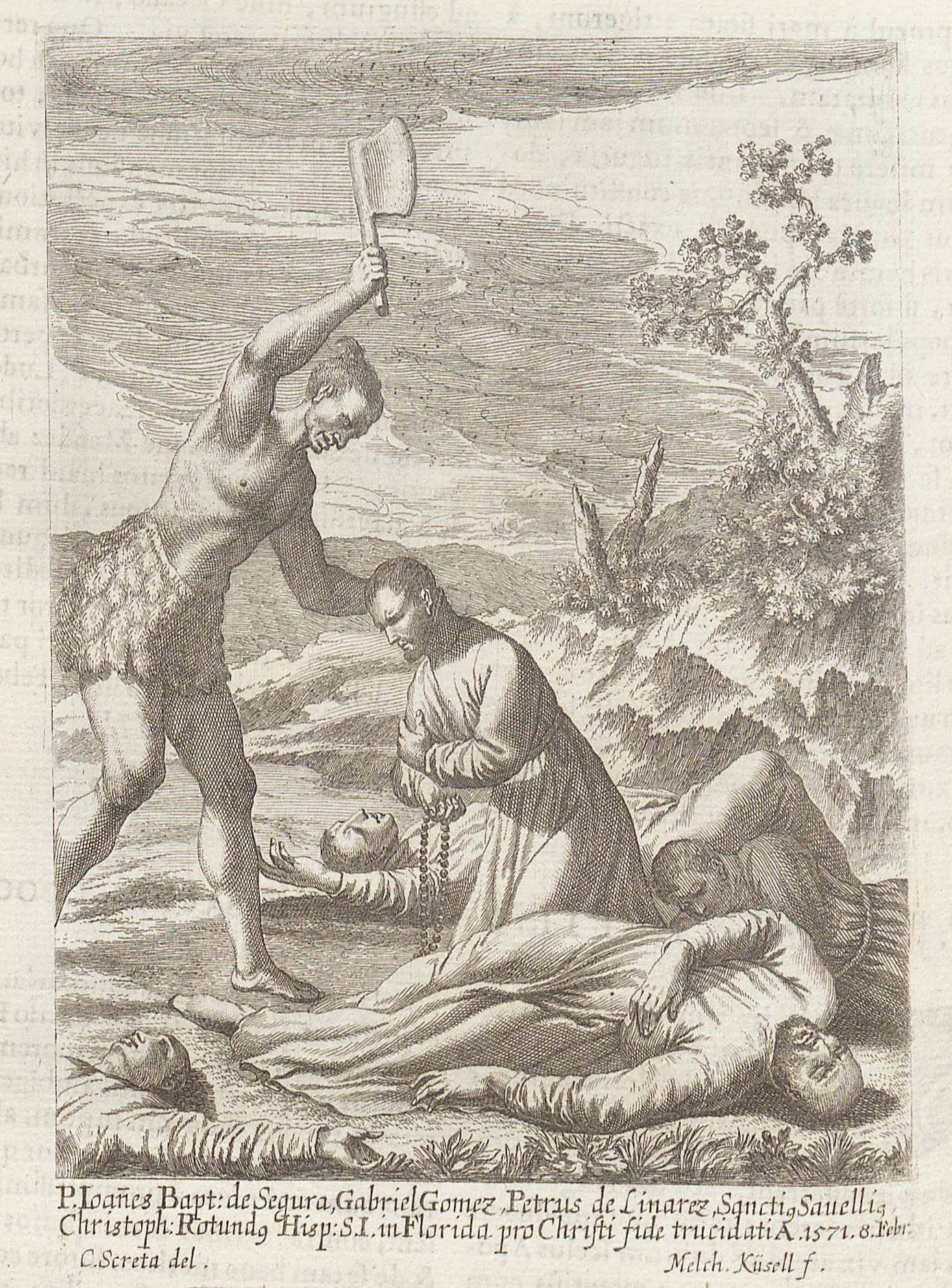 In his book about Catholic martyrs, 17th-century author Mathias Tanner included this engraving and the story of Don Luis de Velasco killing Spanish Jesuit missionaries who had founded a colony in what became Virginia.