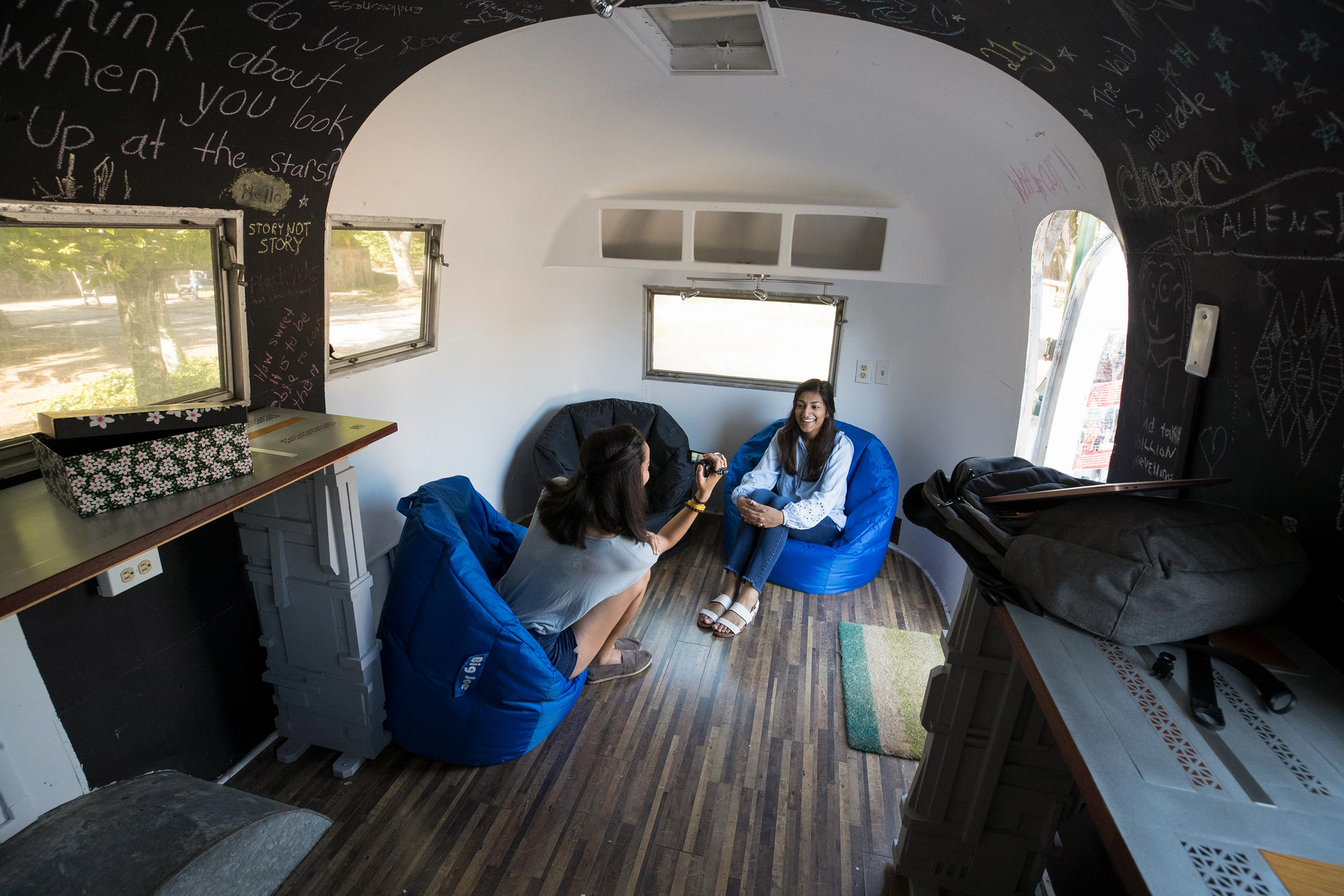 Just like last year, members of the UVA community were invited to submit stories for consideration, either online or at a recording station in this Airstream trailer stationed near Newcomb Hall. (Photo by Dan Addison, University Communications)