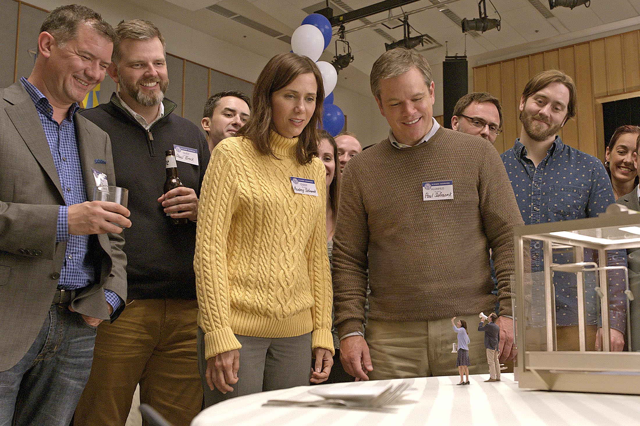 "Matt Damon and Kristin Wiig contemplate miniaturization in ""Downsizing,"" which attracted a sold-out crowd on Thursday night. (Contributed photo)"
