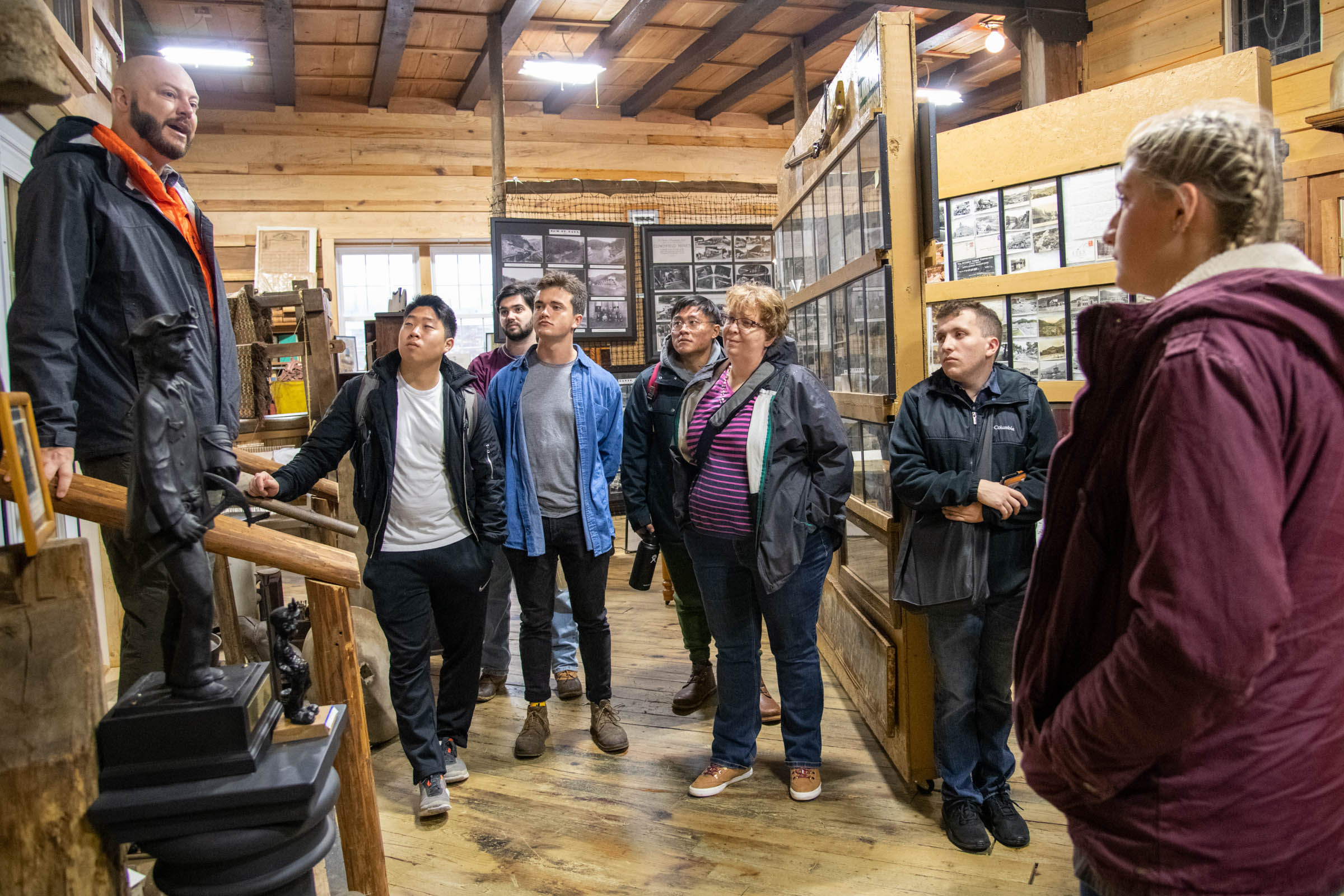 "Josh Sawyers, innovation center manager at UVA-Wise, speaks to  students in Mahoney's ""Impact Investing in Action: Appalachia"" course at the Mountain Heritage Museum in southwest Virginia."